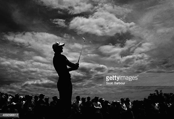 Adam Scott of Australia tees off during day three of the Australian Masters at The Metropolitan Golf Course on November 22, 2014 in Melbourne,...