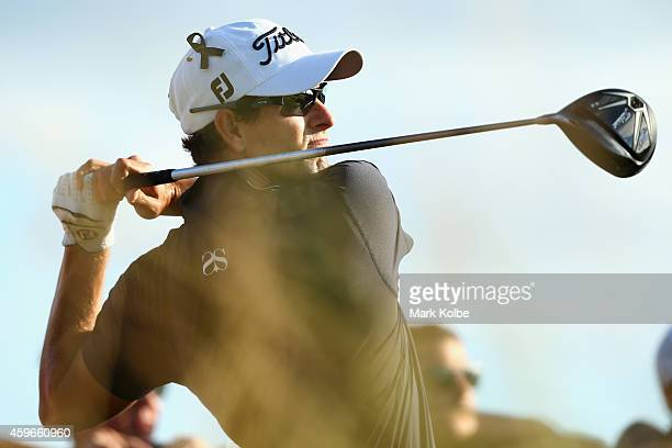 Adam Scott of Australia tees off on the 12th hole during day two of the Australian Open at The Australian Golf Course on November 28 2014 in Sydney...