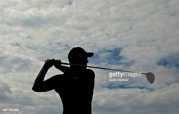 Adam Scott of Australia tees off on the 18th hole during day one of the 2015 Australian Masters at Huntingdale Golf Course on November 19, 2015 in...