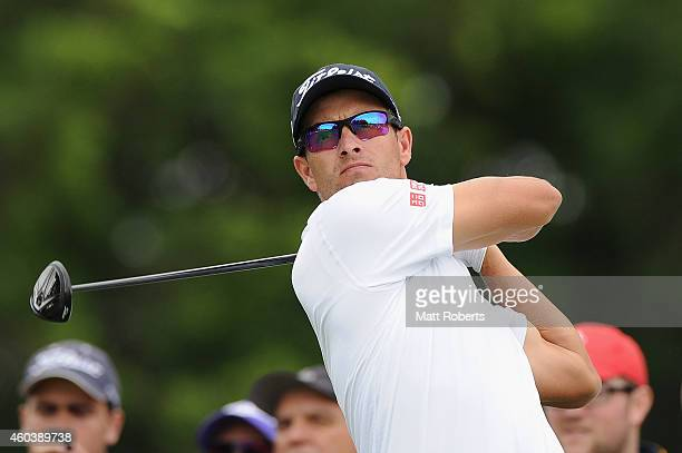 Adam Scott of Australia tees off on the 6th hole during day three of the 2014 Australian PGA Championship at Royal Pines Resort on December 13, 2014...