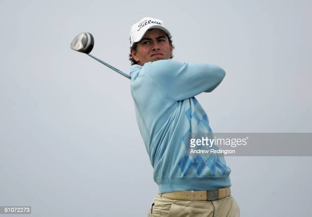 Adam Scott of Australia tees off on the 6th hole during the first round of the 133rd Open Championship at the Royal Troon Golf Club on July 15, 2004...