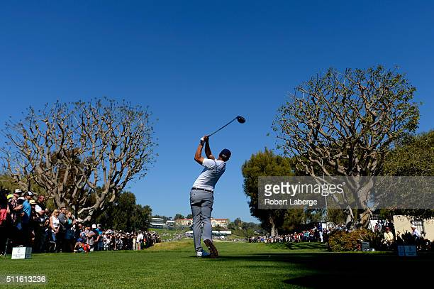 Adam Scott of Australia tees off on the ninth hole during the final round of the Northern Trust Open at Riviera Country Club on February 21 2016 in...