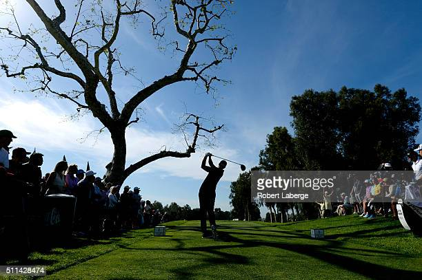 Adam Scott of Australia tees off on the third hole during round three of the Northern Trust Open at Riviera Country Club on February 20 2016 in...