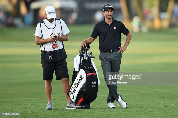 Adam Scott of Australia waits in the first fairway during the third round of the Arnold Palmer Invitational Presented by MasterCard at Bay Hill Club...