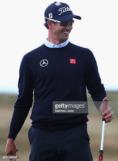 Adam Scott of Australia waits on a green during a practice round prior to the start of the 143rd Open Championship at Royal Liverpool on July 14 2014...