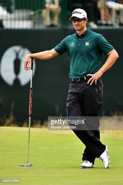 Adam Scott of Australia waits on a green during a practice round prior to the start of the 143rd Open Championship at Royal Liverpool on July 16 2014...