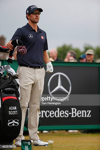 Adam Scott of Australia waits on the 16th tee during the third round of The 143rd Open Championship at Royal Liverpool on July 19 2014 in Hoylake...