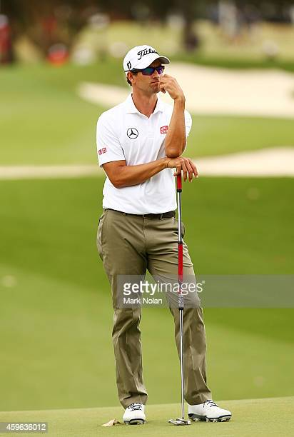 Adam Scott of Australia waits to putt on the 10th hole during day one of the 2014 Australian Open at The Australian Golf Course on November 27 2014...