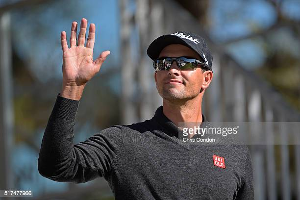 Adam Scott of Australia walks to the first tee during the third round of the World Golf Championships Dell Match Play at Austin Country Club on March...