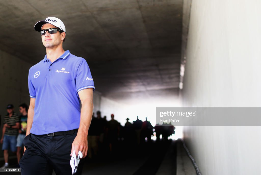 Adam Scott of Australia walks to the the 9th tee during round one of the 2012 Australian Open at The Lakes Golf Club on December 6, 2012 in Sydney, Australia.