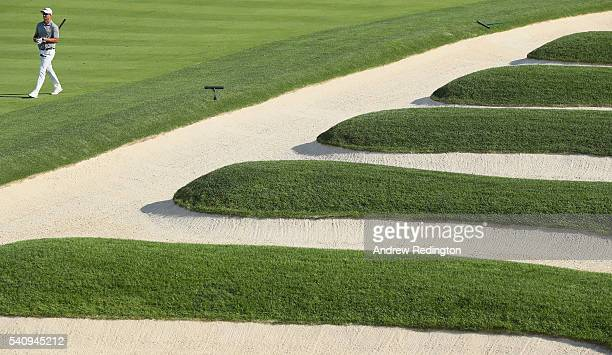Adam Scott of Australia walks up the 15th fairway during the second round of the US Open at Oakmont Country Club on June 17 2016 in Oakmont...