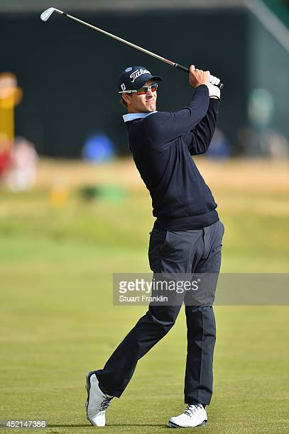 Adam Scott of Australia watches a shot during a practice round prior to the start of the 143rd Open Championship at Royal Liverpool on July 14 2014...