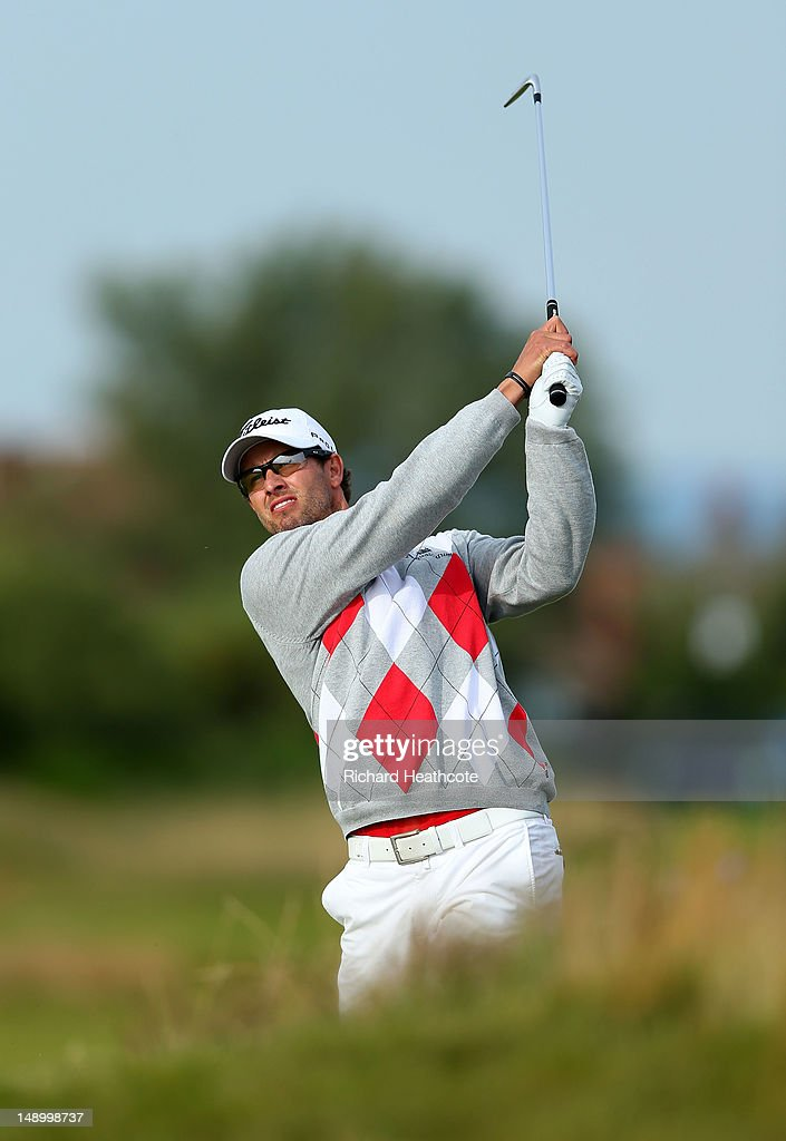 Adam Scott of Australia watches a shot on the 15th hole during the third round of the 141st Open Championship at Royal Lytham & St. Annes Golf Club on July 21, 2012 in Lytham St Annes, England.