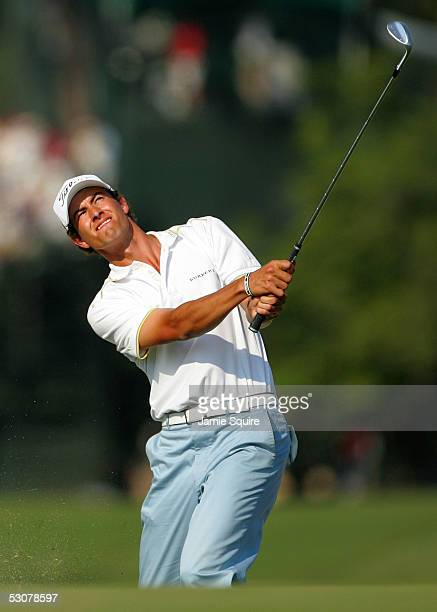 Adam Scott of Australia watches his pitch shot on the 18th hole during round one of the US Open June 16 2005 at Pinehurst Resort in Pinehurst North...