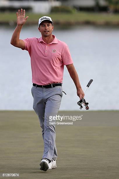 Adam Scott of Australia waves to the crowd after winning the Honda Classic at PGA National Resort Spa Champions Course on February 28 2016 in Palm...