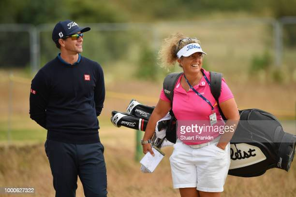 Adam Scott of Australia with his caddie Fanny Sunesson during previews to the 147th Open Championship at Carnoustie Golf Club on July 16 2018 in...