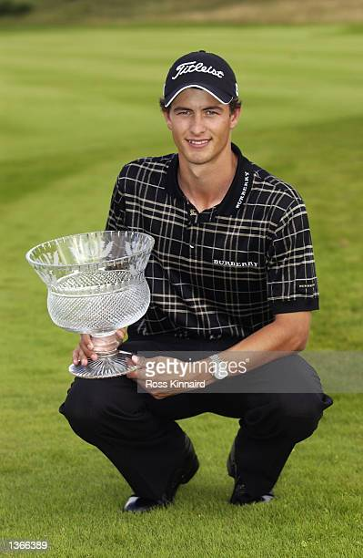Adam Scott of Australia with the trophy after his victory in the Diageo Scottish PGA Championship being played on the PGA Centenary Course at...