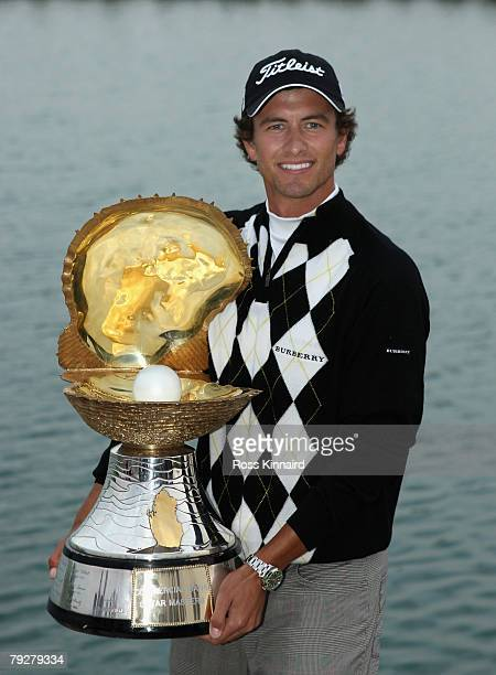 Adam Scott of Australia with the winners trophy after the final round of the Commercialbank Qatar Masters held at the Doha Golf Club on January 27...