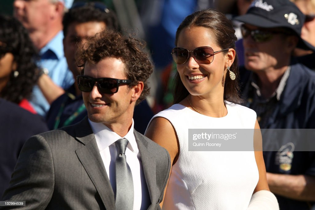 Adam Scott of the International Team and his partner, Serbian tennis player Ana Ivanovic attend the Opening Ceremony prior to the start of the 2011 Presidents Cup at Royal Melbourne Golf Course on November 16, 2011 in Melbourne, Australia.