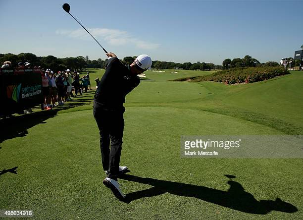 Adam Scott play his tee shot on the 10th hole ahead of the 2015 Australian Open at The Australian Golf Club on November 25 2015 in Sydney Australia