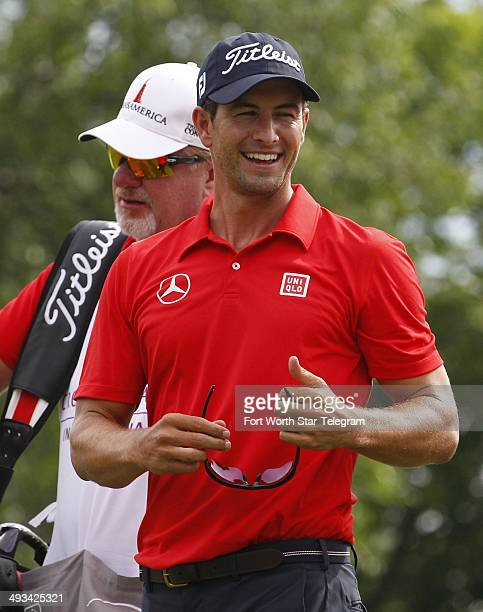 Adam Scott smiles after finishing his second round at the Crowne Plaza Invitational at Colonial in Fort Worth, Texas, Friday, May 23, 2014.