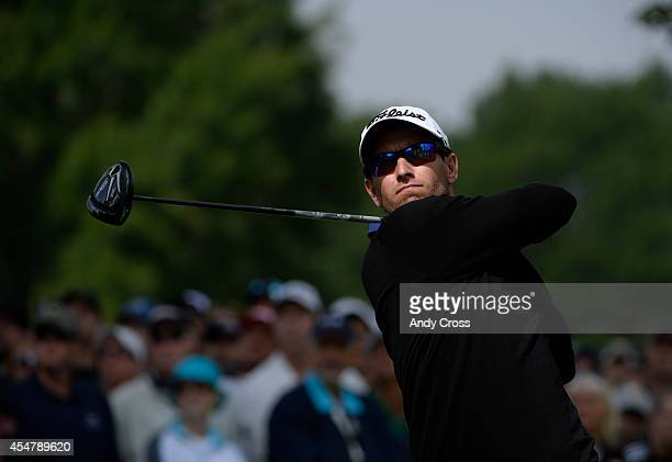 Adam Scott tees off the tee box during the third round of the FedExCup BMW Championship at the Cherry Hills Country Club Saturday September 06 2014
