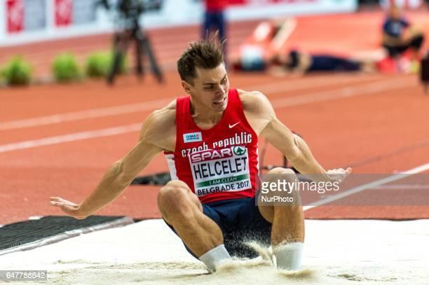 Adam Sebastian Helcelet Czech Republic long jump during Heptathlon for men at European athletics indoor championships in Belgrade 4 march 2017