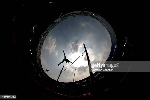 Adam Sebastian Helcelet of the Czech Republic competes in the Men's Decathlon Pole Vault during day eight of the 15th IAAF World Athletics...