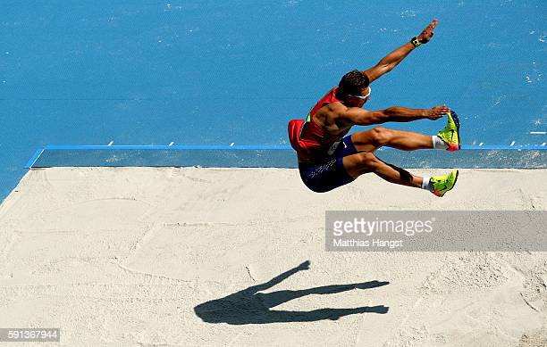 Adam Sebastian Helcelet of the Czech Republic competes in the Men's Decathlon Long Jump on Day 12 of the Rio 2016 Olympic Games at the Olympic...