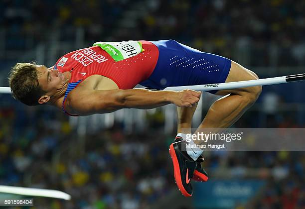 Adam Sebastian Helcelet of the Czech Republic competes in the Men's Decathlon High Jump on Day 12 of the Rio 2016 Olympic Games at the Olympic...