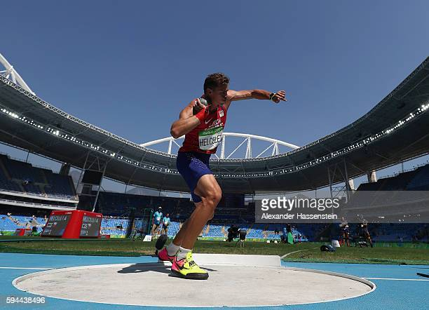 Adam Sebastian Helcelet of the Czech Republic competes in the Men's Decathlon Shot Put on Day 12 of the Rio 2016 Olympic Games at the Olympic Stadium...