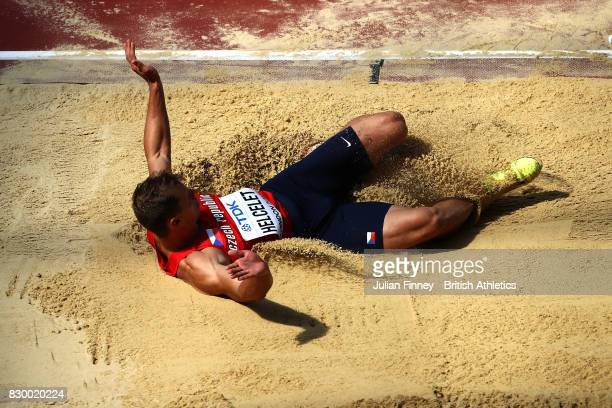 Adam Sebastian Helcelet of the Czech Republic competes in the Men's Decathlon Long Jump during day eight of the 16th IAAF World Athletics...