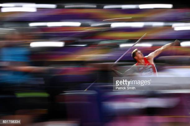 Adam Sebastian Helcelet of the Czech Republic competes in the Men's Decathlon Javelin during day nine of the 16th IAAF World Athletics Championships...