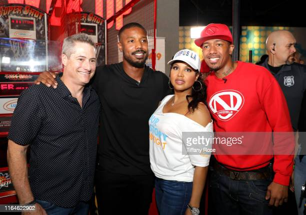 Adam Selkowitz, Michael B. Jordan, Toni Braxton and Nick Cannon attend Michael B. Jordan's MBJAM at Dave & Buster's Hollywood on July 27, 2019 in...