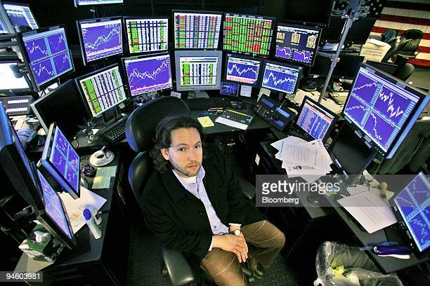 Adam Sender art collector and Exis Capital Management Inc fund manager poses in his office in New York on January 19 2007 Dennis Suskind a former...