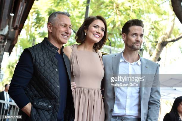 Adam Shankman Mandy Moore and Shane West attend the ceremony honoring Mandy Moore with Star on the Hollywood Walk of Fame on March 25 2019 in...
