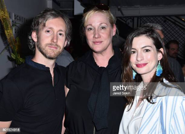 Adam Shulman Amy Sacco and Anne Hathaway attend TriStar Pictures with The Cinema Society Avion host a screening of Baby Driver at Metrograph on June...