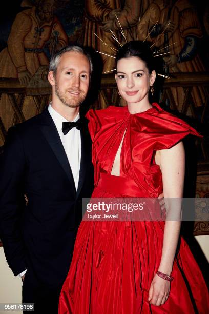 Adam Shulman and Anne Hathaway attend Heavenly Bodies Fashion The Catholic Imagination Costume Institute Gala at The Metropolitan Museum of Art on...