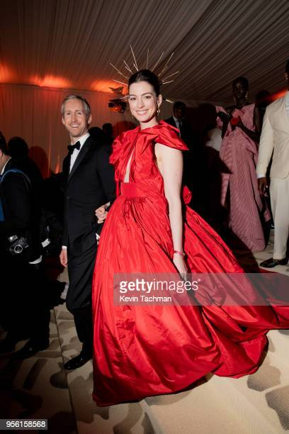 Adam Shulman and Anne Hathaway attend the Heavenly Bodies Fashion The Catholic Imagination Costume Institute Gala at The Metropolitan Museum of Art...
