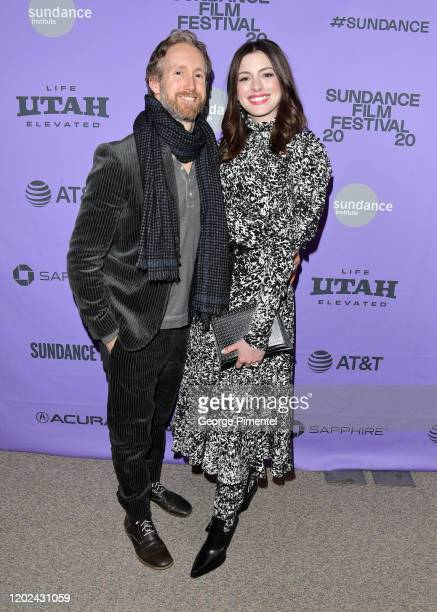 Adam Shulman and Anne Hathaway attends The Last Thing He Wanted premiere at Eccles Center Theatre on January 27 2020 in Park City Utah