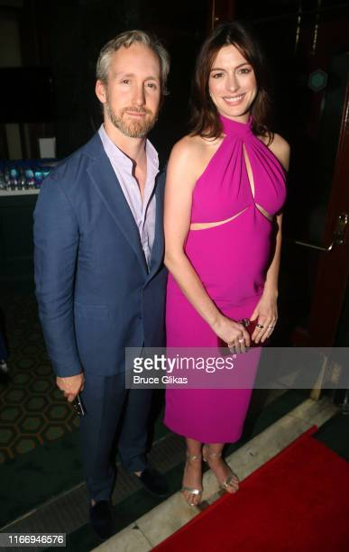 Adam Shulman and wife Anne Hathaway pose at the opening night of Sea Wall/A Life on Broadway at The Hudson Theatre on August 8 2019 in New York City