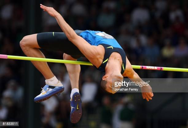 Adam Shunk competes in the men's high jump final during day seven of the US Track and Field Olympic Trials at Hayward Field on July 5 2008 in Eugene...