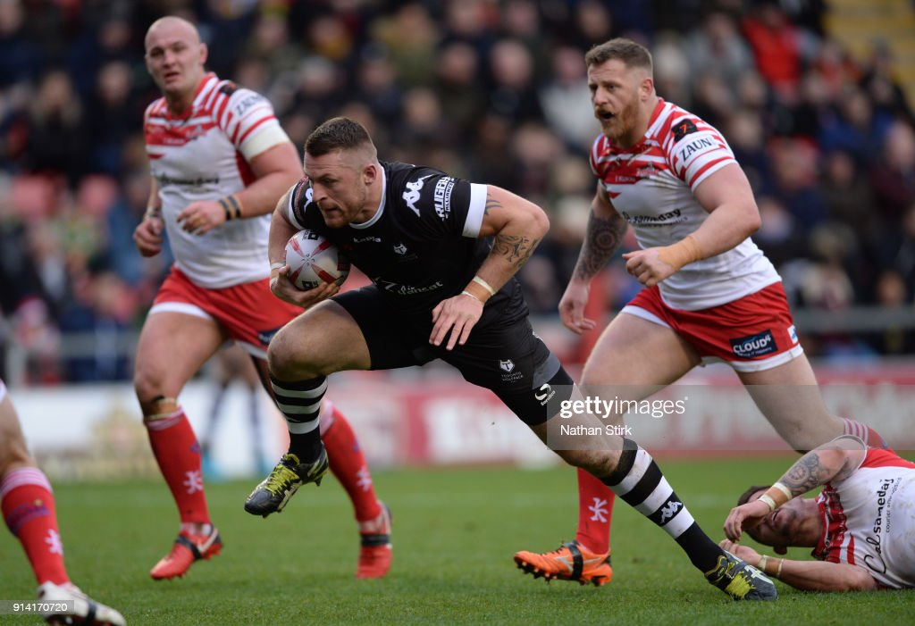 Adam Sidlow of Toronto Wolfpack breaks free to score their first try during the Betfred Championship match between Leigh Centurions and Toronto Wolfpack on February 4, 2018 in Leigh, Greater Manchester.