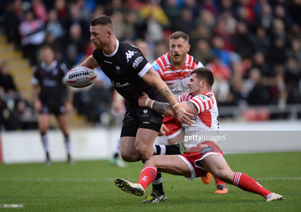Adam Sidlow of Toronto Wolfpack breaks free to score their first try during the Betfred Championship match between Leigh Centurions and Toronto Wolfpack on February 4, 2018 in Leigh, Greater Manchester, United Kingdom.