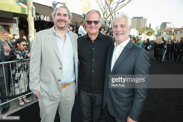 Adam Siegel Stephen Cornwell and Rob Friedman Chairman and CEO TMP Entertainment attend Global Road Entertainment's 'Hotel Artemis' premiere at...