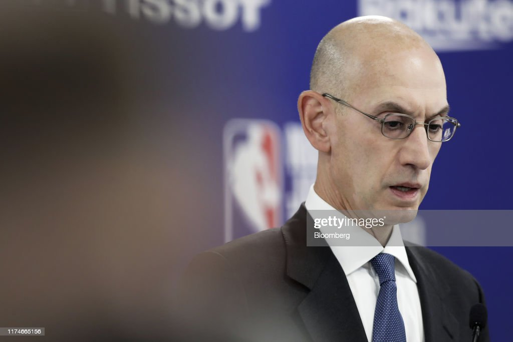 NBA Commissioner Adam Silver Pre-Game News Conference As Protest Tweet Sparks China Furor : News Photo