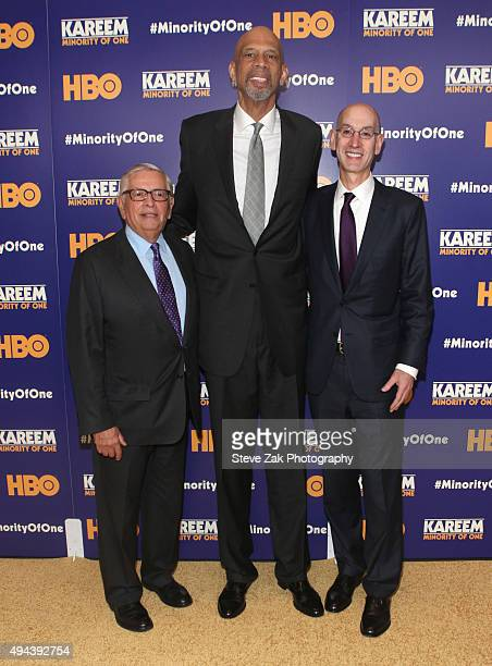 Adam Silver Kareem Abdul Jabbar and David Stern attend Kareem Minority Of One New York Premiere at Time Warner Center on October 26 2015 in New York...