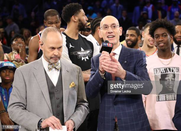 Adam Silver NBA Commissioner speaks before presenting the MVP award during the NBA AllStar game as part of the 2019 NBA AllStar Weekend at Spectrum...