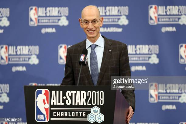 Adam Silver NBA Commissioner talks to the media during the NBA All Star Commissioner's Media Availability as part of the 2019 NBA AllStar Weekend at...