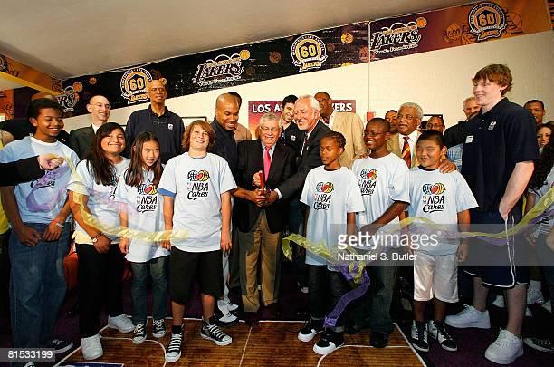 Adam Silver NBA Deputy Commissioner and COO Kareem AbdulJabbar NBA Legend Derek Fisher of the Los Angeles Lakers AC Green NBA Legend NBA Commisiioner...